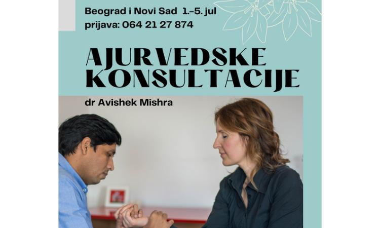 Ajurvedske konsultacije (pulsna dijagnostika) u Beogradu i Novom Sadu od 01. do 05. jula